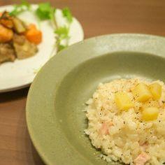 燻製モツァレラチーズのリゾットとニンジンとジャガイモのフリットバルサミコソース