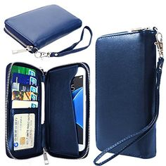 Womens RFID Blocking Wallet Classic Clutch Leather Long Wallet Card Holder Purse Handbag Fit Iphone 6/6s (Blue) ** Read more @