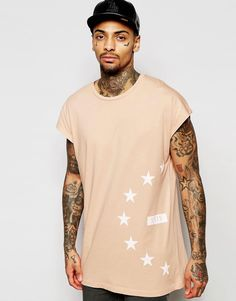 Image 1 ofASOS Oversized Sleeveless T-Shirt With Star Side Print In Pink