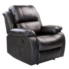 Merax PU Heated Massage Recliner Sofa Chair Ergonomic Lounge with 8 Vibration Motors, Grey (black) For Sale Lift Recliners, Swivel Rocker Recliner Chair, Leather Recliner, Sofa Chair, Sofa Set, Leather Sofa, Pu Leather, Sofa Furniture, Adirondack Chairs For Sale