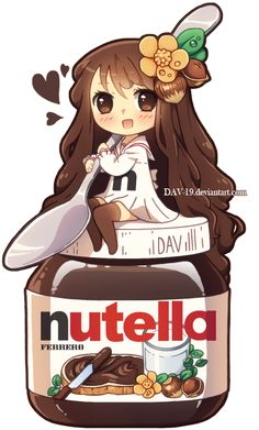 I don't know if this counts as a food anthro, but since I pretty much made it up (the food anthro name thingy, but not the idea), it can count! Nutella chibi