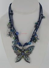 New Kirks Folly Forever Free Butterfly Cord Necklace - Blue