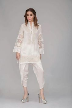 Ivory Kurta (shirt only) Note: Lace pattern maybe different from what is shown in the picture. Pakistani Couture, Pakistani Outfits, Indian Outfits, Ethnic Fashion, Asian Fashion, Indian Designer Outfits, Designer Dresses, Pakistan Fashion, Desi Clothes