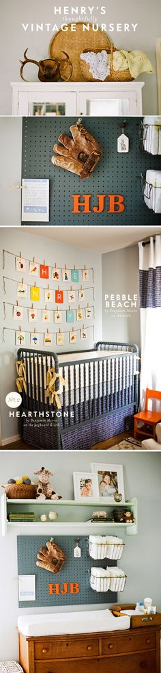 henry's vintage baby nursery inspiration - I love the pegboard changing station area, and all the great details. Good think I'm still doing Sawyer's room.   @reanne