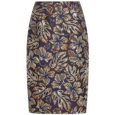 Prada Metallic Cloqué Jacquard Skirt ($1,025) ❤ liked on Polyvore featuring skirts, blue, blue skirt, brown skirt, prada skirt, prada and metallic jacquard skirt