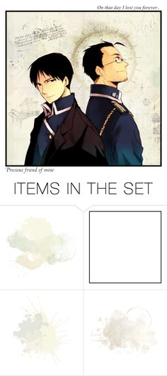"""Roy Mustang & Maes Hughes"" by merber ❤ liked on Polyvore featuring art, anime, neutrals, fma, Fullmetal and fmab"