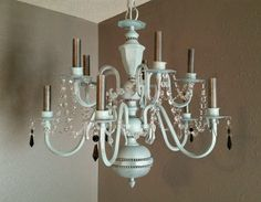 Shabby chic chandelier, shabby chic light, crystal chandelier light