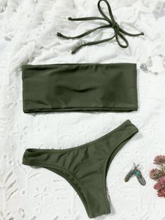 SHARE & Get it FREE | High Cut Bandeau Thong Bathing Suit - Army Green SFor Fashion Lovers only:80,000  Items • New Arrivals Daily Join Zaful: Get YOUR $50 NOW!