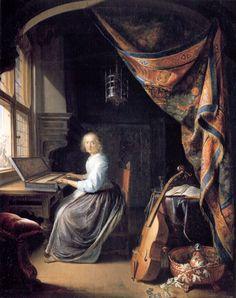 WOMAN AT THE CLAVICHORD   Gerard Dou 1665 Gerrit Dou fue un pintor y grabador holandés barroco nacido el 7 de abril de 1613 en Leiden, donde también murió el 9 de febrero de 1675. Perteneció a la escuela de Leiden y se especializó en escenas de género y caracterizadas por sus trampantojos y las pinturas nocturnas iluminadas con velas, con escenas de fuerte claroscuro.