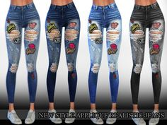The Sims Resource: New Style Applique Realistic Ripped Jeans by Saliwa • Sims 4 Downloads