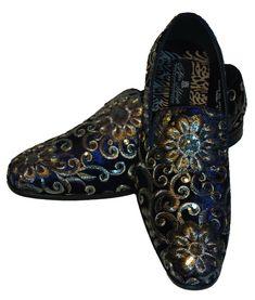 c0405ec536c AM 6734 Mens Fancy Dark Blue Velvet Dress Loafers Bright Gold + Silver  Detail