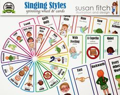 Spinning wheel & cards for different methods to singing a song. Singing time