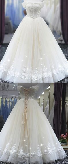 NEW! Fantastic Tulle Off-the-shoulder Neckline Ball Gown Wedding Dress With Beaded Lace Appliques
