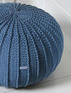 Large denim blue floorpouf, blue pouf, knitted pouf, knit pouf, knitted ottoman, footstool, knitted pouffe, floor ottoman, crochet pouffe,