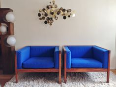 Pair Of Royal Blue Wood Frame Cube Club Chairs In The Style Of George Nelson Mid Century Modern