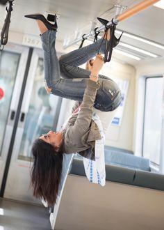 Fun with fitness. Just hanging around on the subway train. subway fashion photo shoot