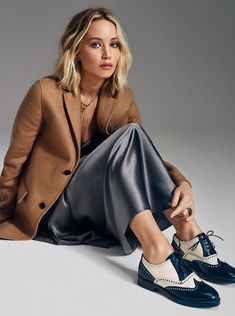 Jennifer Lawrence in long slip slip dress grey 90s style celebrities celebrity in silk #slipdress #JenniferLawrence #celebrities #silkoutfit #outfit