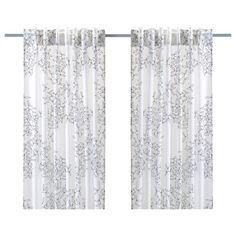 IKEA Hedda Blad Pair of Curtains 2 Panels Semi Sheer White Black Leaf New NIP | eBay
