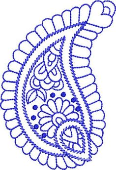 Paisley embroidery pattern | Bluework Paisley embroidery design