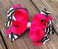 Hot Pink and Zebra Bling Layered Hair Bow by MiaBellaCrafting