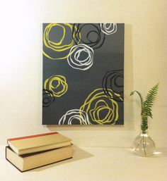 "Yellow and grey abstract painting, acrylic on canvas 16"" x 20"" on Etsy, $83.00"