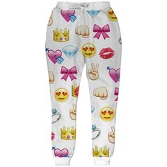 White Womens Cute Emoji Printed Fashion Leisure Pants ($19) ❤ liked on Polyvore featuring pants, emoji, bottoms, joggers, white, white jogger pants, jogger trousers, jogger pants, white pants and white trousers