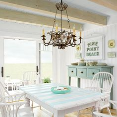 House of Turquoise: Coastal Living Idea Cottage Striped table top. Beach Cottage Style, Beach Cottage Decor, Coastal Cottage, Coastal Homes, Cottage Chic, Coastal Decor, Coastal Style, Coastal Colors, White Cottage