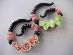 Rose Garden Polymer Clay Ear Gauges by Mariahssassyfashions