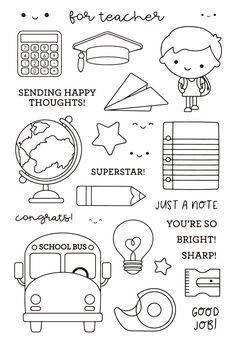 You'll quickly take note of the School Boy Clear Photopolymer Stamps from the School Days Collection by Doodlebug Design. Included in the package are 27 clear Chalk Drawings, Cute Drawings, Tampons Transparents, School Boy, Digi Stamps, Bullet Journal Inspiration, Copics, School Design, Planner Stickers