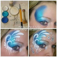2014 Halloween Frozen face paint tutorial for girls - Elsa, snow, ice #2014 #Halloween