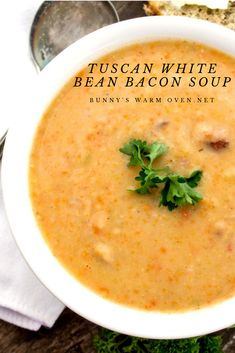 Tuscan White Bean Bacon Soup is not only a hearty and delicious soup but it's easy to make as well. It s loaded with root vegetables, beans and bacon. 9 Bean Soup Recipe, Bean And Bacon Soup, White Bean Soup, White Beans, Cooking Recipes, Healthy Recipes, Bacon Recipes, Bacon Meals, Ic Recipes