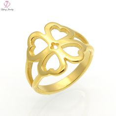 Lefeng Stainless Steel Lucky Clover Wedding Couple Rings For Women & Men Hollow Heart Shape Ring Gift Fashion Lover Jewelry