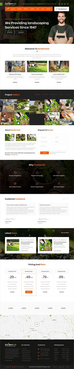 Garden HUB is clean and modern design 4in1 responsive bootstrap #HTML5 template for #garden, #landscape and lawn services website to live preview & download click on Visit