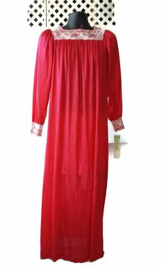 Long Red Nightgown Pinehurst Lingerie Lacy NOS