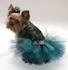 Fashionable Teal Dark Green & Black Peacock Costume Satin Bow Dog Puppy Tutu Skirt With Free Matching Hair Bow by GetUrTutuOn on Etsy