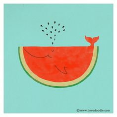 watermelon whale #drawing #cutee #watermelon