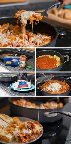 This Cheesy Skillet Lasagna Recipe is simple to make on the stovetop. It has only three ingredients and you can make supper in one pot. *My family loves easy Italian food! This is perfect for a fast weeknight dinner. Essen One-Pot Stovetop Lasagna Honey Glazed Ham, Baked Chicken Tacos, La Marmite, Cooking Challenge, Fast Dinners, Fast Easy Meals, Pasta, Healthy Recipes, Healthy Cooking