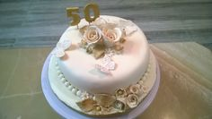 A golden anniversary cake for a very irritating client!