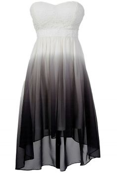 Black, Grey, and White Ombre High Low Dress.