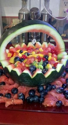 First carves watermelon baskets
