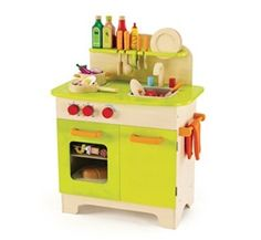 """Eco-Friendly Gourmet Chef Kitchen in Green-from HaPe Toys-Young chefs who watch their dad or mom prepare meals will adore this wood child-size gourmet kitchen to create their own mealtime treats.Peek into the oven through the window to check on dinner or the pretend cake that's baking.Big orange knobs can turn the burners """"on"""" or """"off"""" & the sink is ready for washing dishes. Cleanup time is a snap with the hutch & cupboard to store plates & pans.Made of Safe, Eco-Friendly Materials.Price…"""