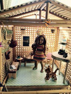 DIY thrift find Lea's rainforest house. American Girl Storage, American Girl Doll Room, American Girl House, Ropa American Girl, American Girl Crafts, Doll Crafts, Diy Doll, Ag Dolls, Girl Dolls
