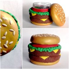 Cheeseburger Hamburger Burger Polymer Clay Stash Jar Made by lxnd Browse unique items from lxnd on Etsy, a global marketplace of handmade, vintage and creative goods. Smart Kitchen Storage Under Sink clever kitchen storage under cabinet. Fimo Polymer Clay, Crea Fimo, Polymer Clay Projects, Polymer Clay Creations, Diy Clay, Polymer Clay Jewelry, Clay Crafts, Clay Jar, Cheeseburger