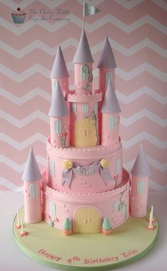 Two tiers of vanilla sponge, with a castle topper. There is extra room on the board for the customer's own princess figures. Elements of it are inspired by Royal Bakery.