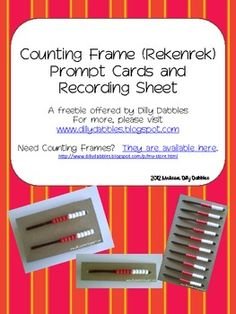 This pack contains 12 prompts to use along with a counting frame or rekenrek and two recording pages: 1 fore the single line (10) counting frame an...