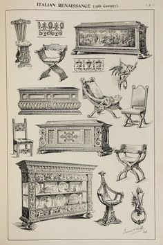 Italian Renaissance Furniture Designs, Large Antique Black & White Print, Interior Design, Arts and Crafts