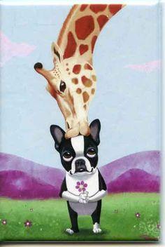 Boston Terrier giraffe Dog Art Magnet by rubenacker on Etsy