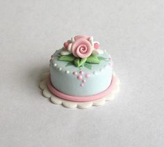 Miniature Pretty Shabby Rose & Flower Topped Cake OOAK by C. Rohal - wonderful work!