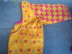designer kutch work blouses for silk sarees Kids Blouse Designs, Simple Blouse Designs, Fancy Blouse Designs, Blouse Neck Designs, Hand Designs, Blouse Patterns, Mirror Blouse Design, Hand Work Blouse Design, Mirror Work Saree Blouse