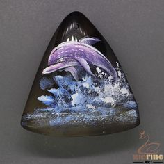 US-Pendant Hand Painted Dolphin Natural Gemstone bag Accessory ZL804832 #ZL #Pendant